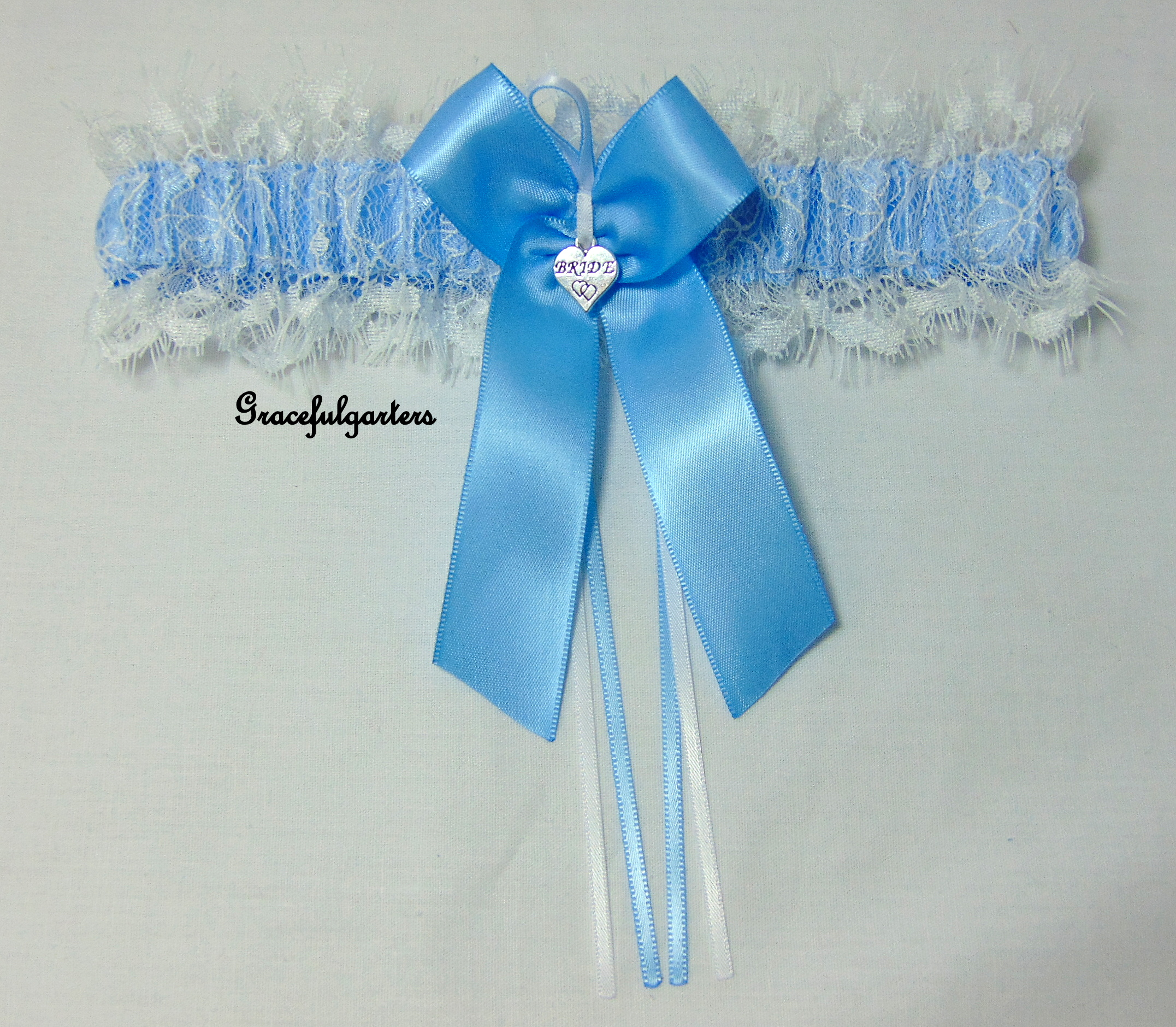 Blue & White Chantilly Lace Bridal Wedding Garter