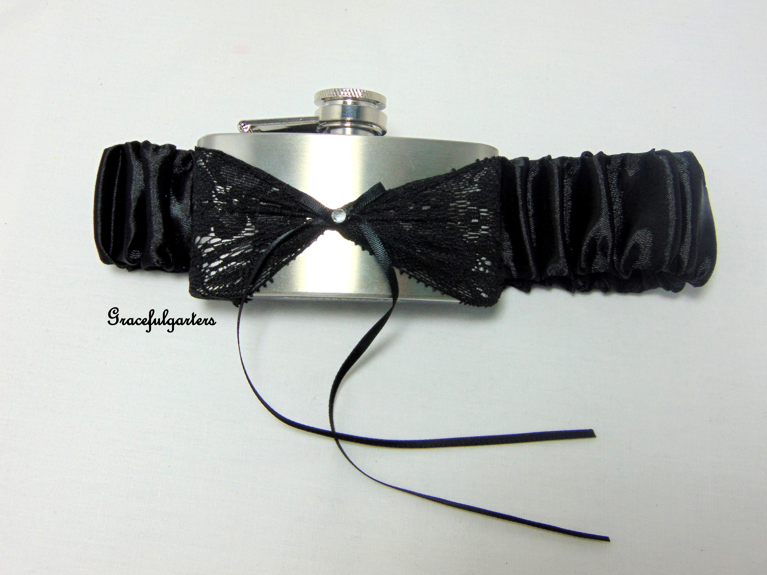 BLACK SATIN HIP FLASK GARTER