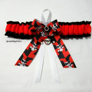 Super villain Harley Quinn Bridal Wedding Garter