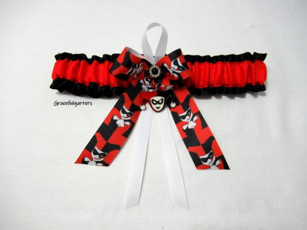 Super villain Harley Quinn Bridal Wedding Garter