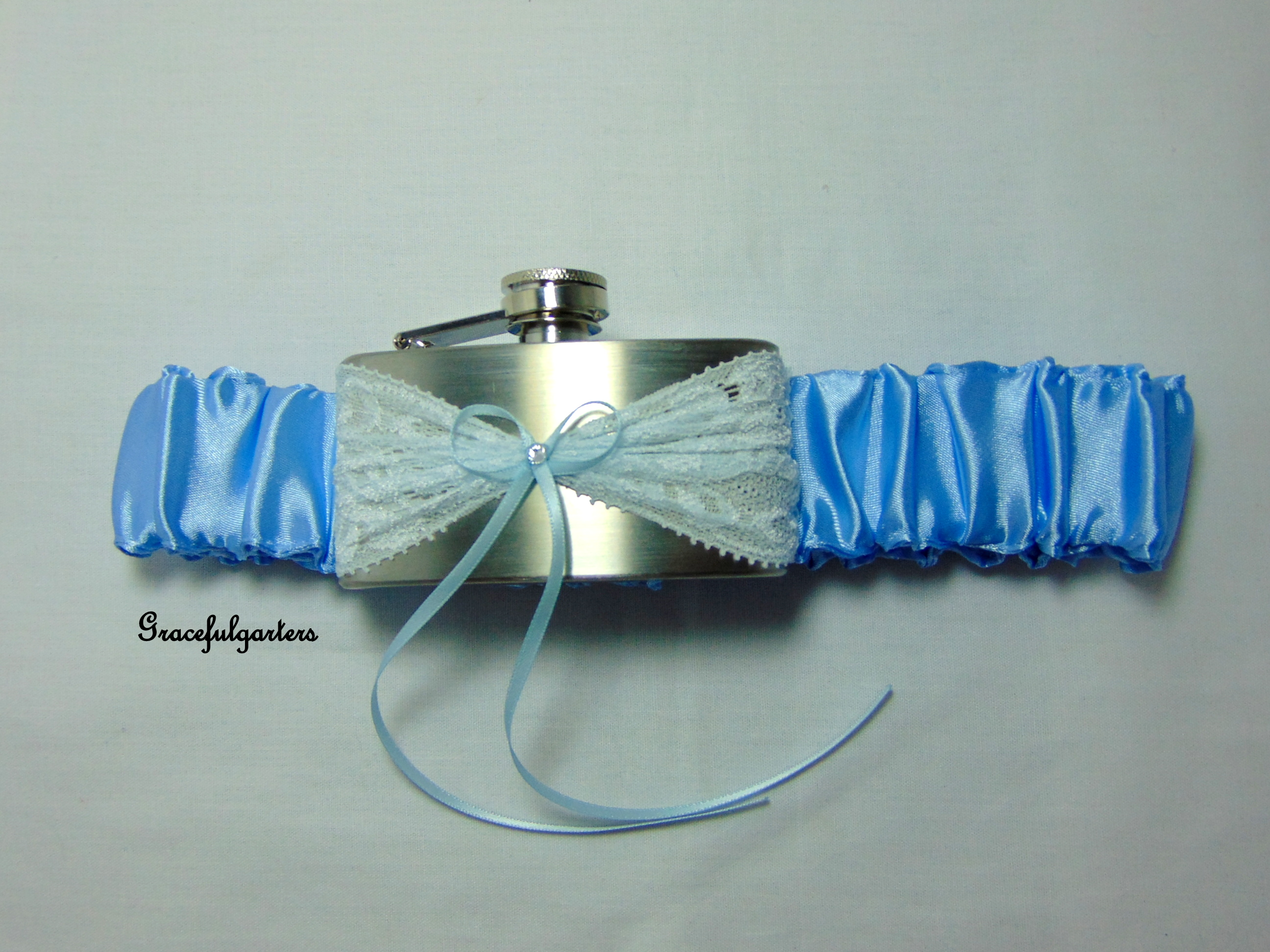 Baby Blue Satin Lace Pocket Hip Flask Bridal Wedding Garter