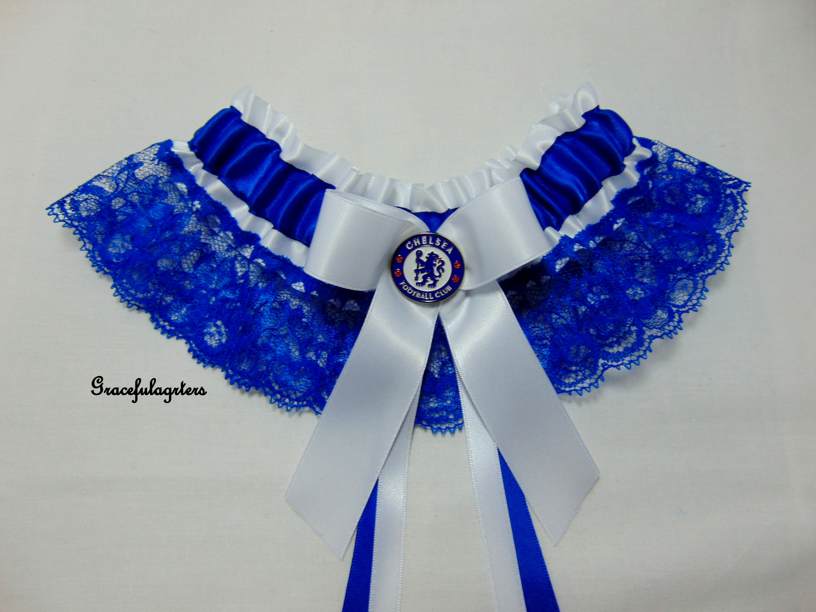 Lace Chelsea football team bridal wedding garter