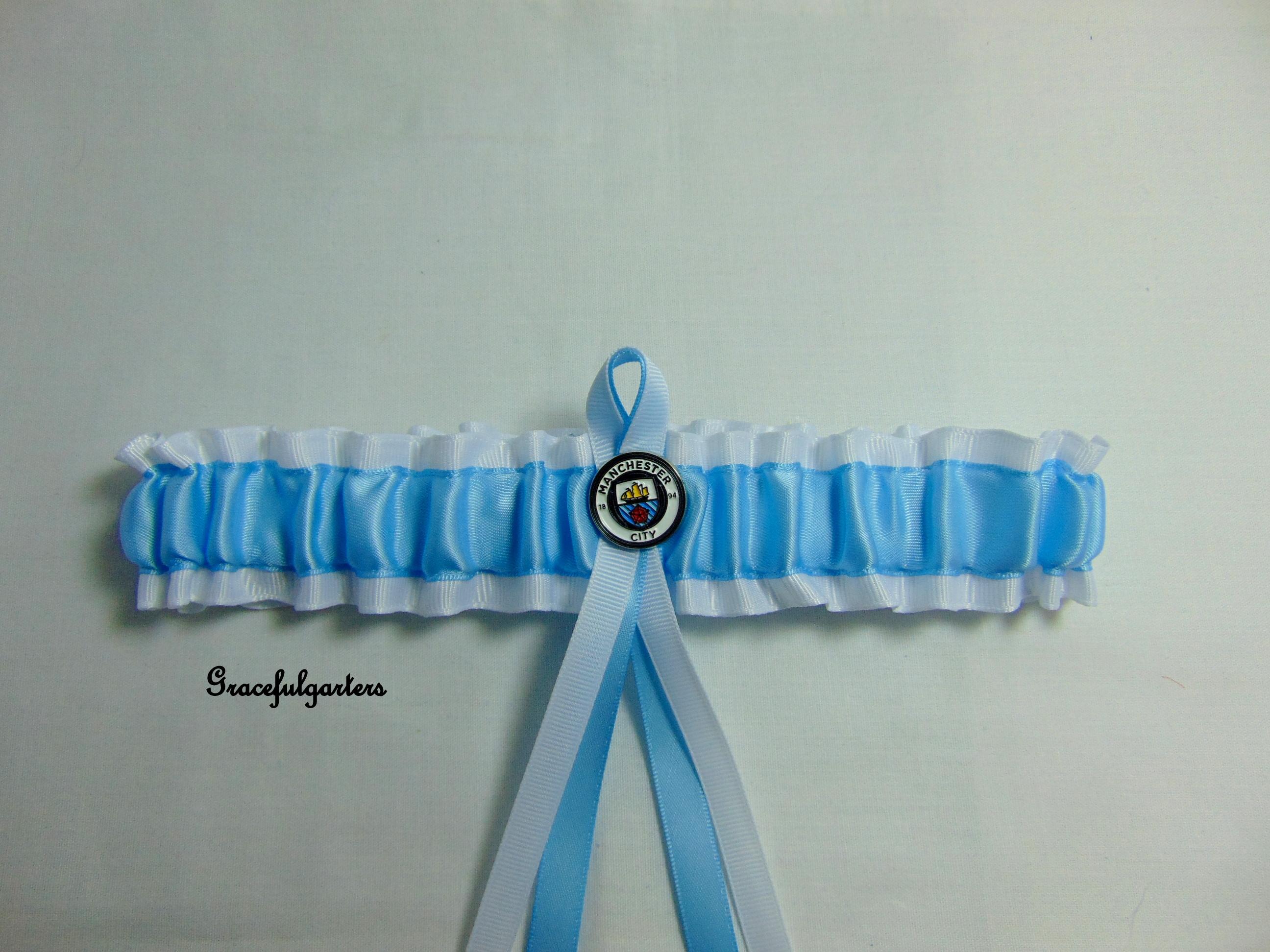 Manchester City Football Team Bridal Wedding Garter.Official Badge