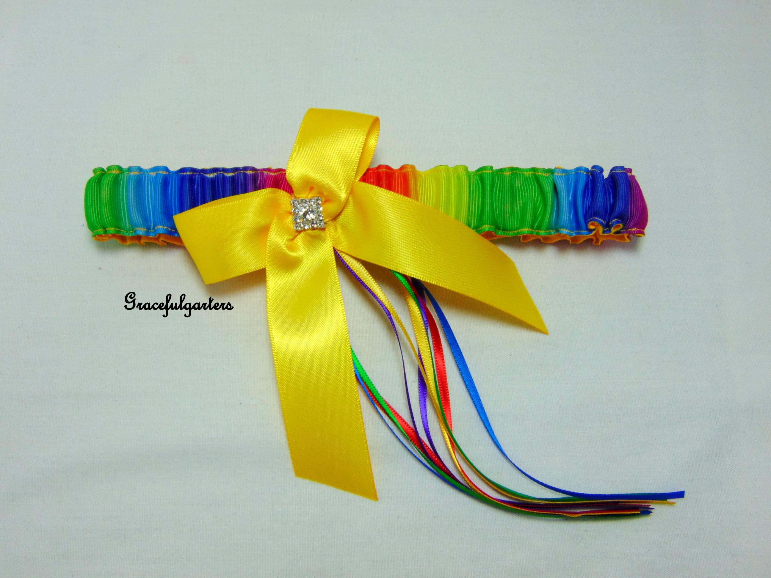 Rainbow gay pride bridal wedding garter