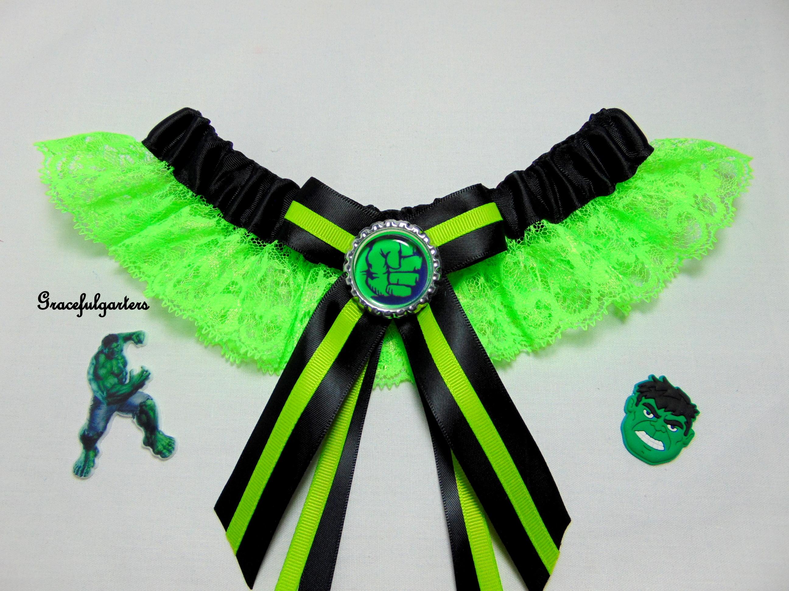 hulk superhero lace bridal wedding garter