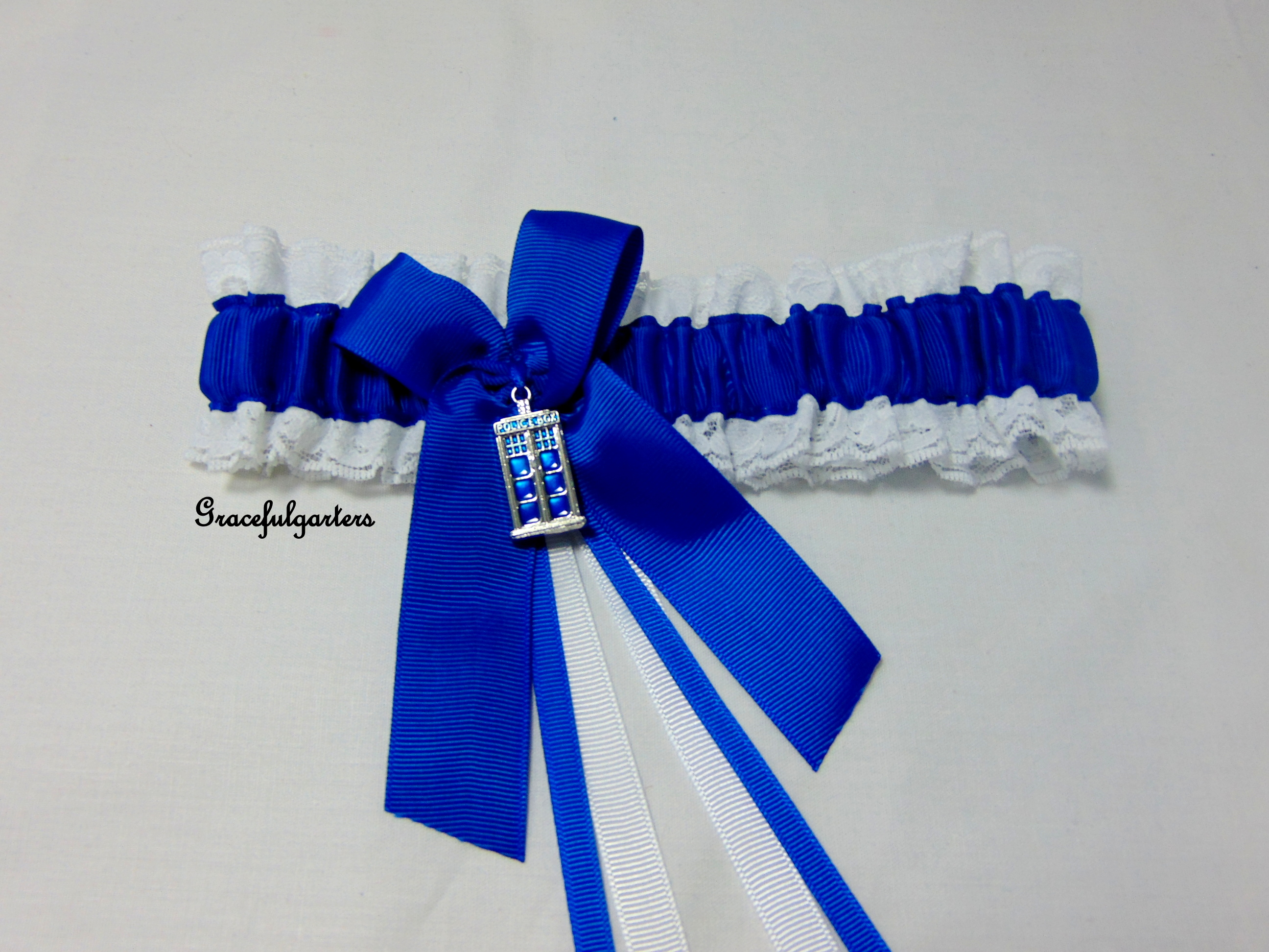 Dr who Tardis bridal wedding garter