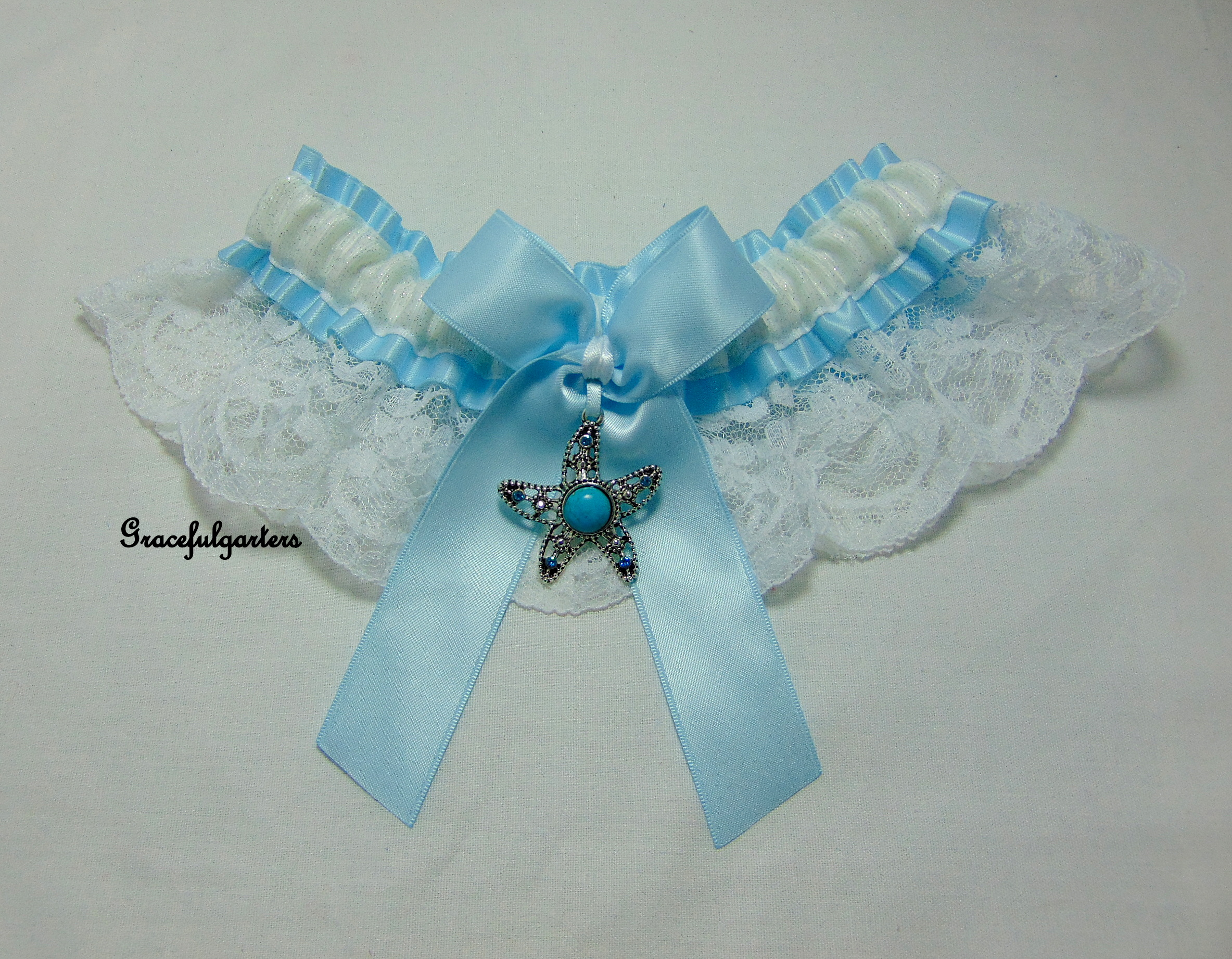 Starfish beach holiday nautical bridal wedding garter