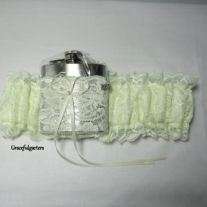 Ivory lace Hip Flask Bridal Wedding Garter