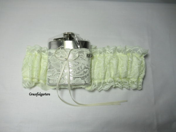 Ivory lace Hip Flask Bridal Wedding Garter