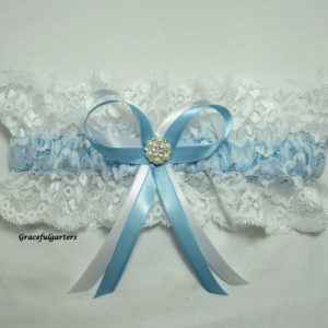 Unique Nottingham Lace Wedding Garter Baby Blue Vintage Garter Boho Garter.