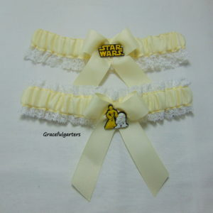 Ivory Starwars Lace Trimmed Bridal Wedding Garter Set