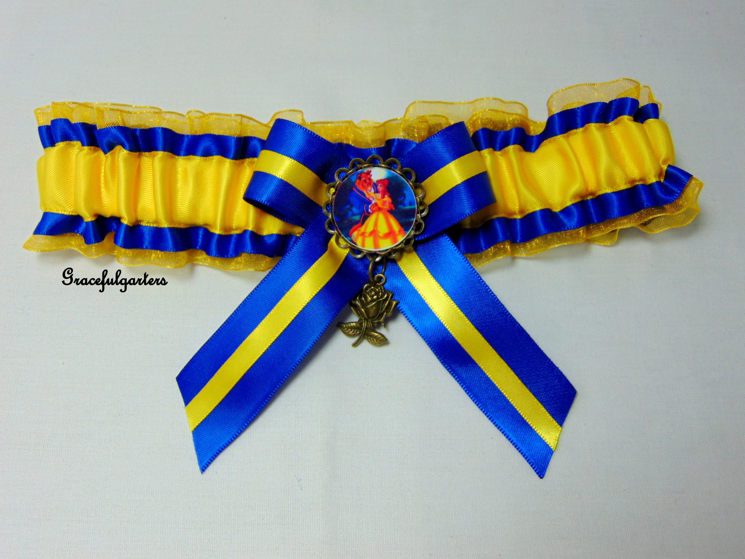 Disney Beauty and the beast organza Bridal Wedding Garter