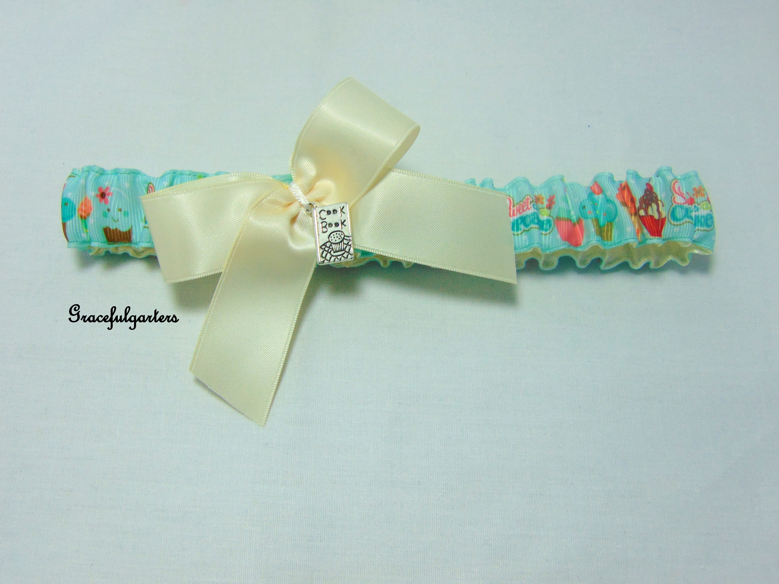 cupcakes bridal wedding garter with cookbook charm