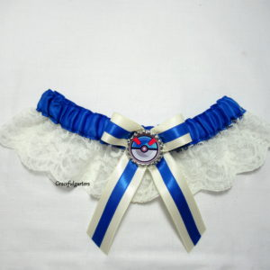 Pokemon the great ball blue poke ball lace bridal wedding Garter