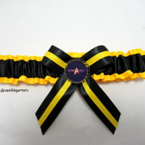 Honey Yellow Grosgrain and Black Satin Trim with black Satin Bow and Honey Yellow grosgrain trim, with a quality bronzed Star Trek Brooch.