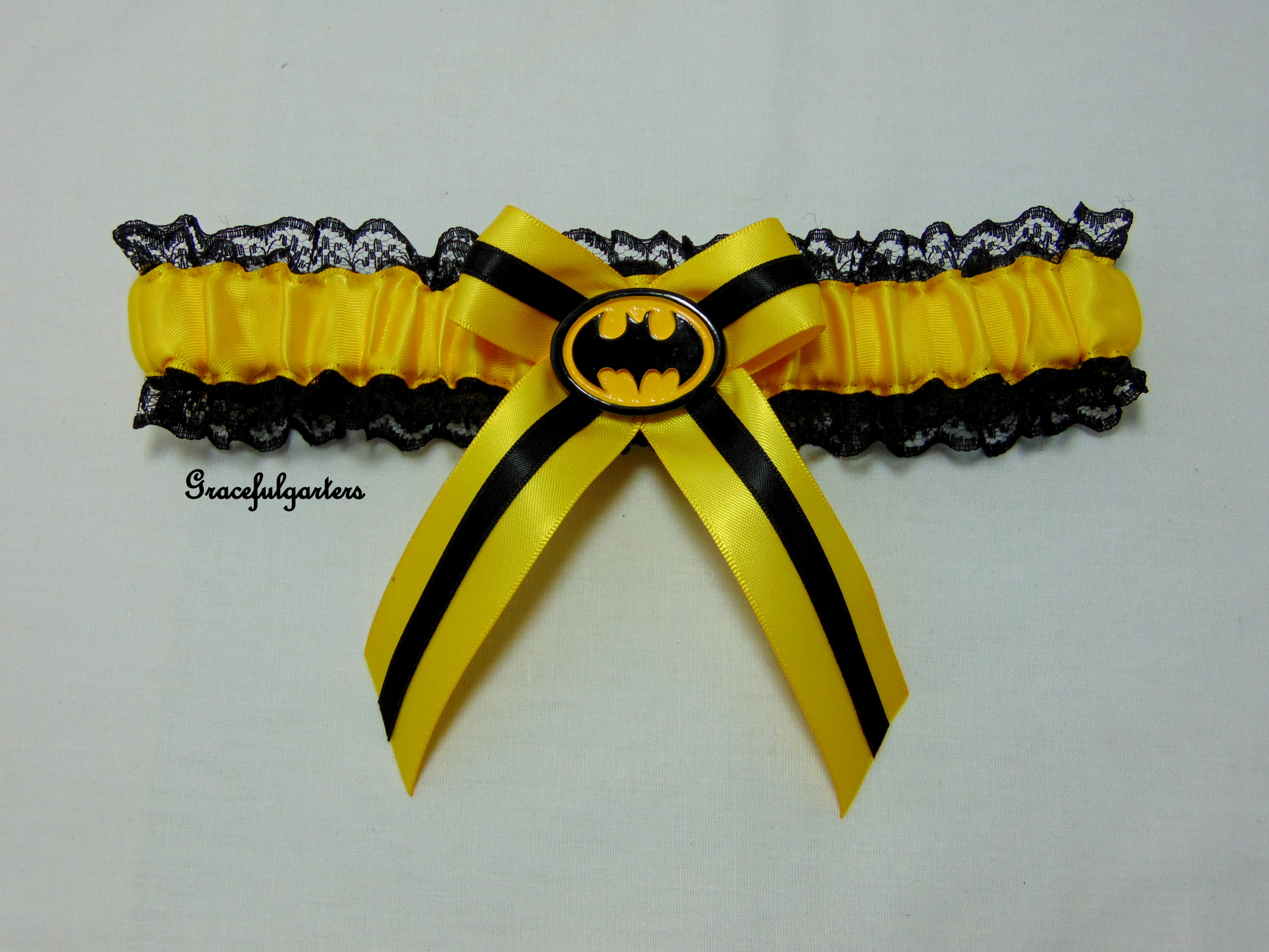 Honey yellow Batman lace bridal wedding Garter