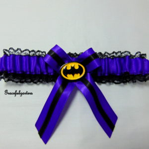 Purple Batman Lace Trimmed Bridal Wedding Garter