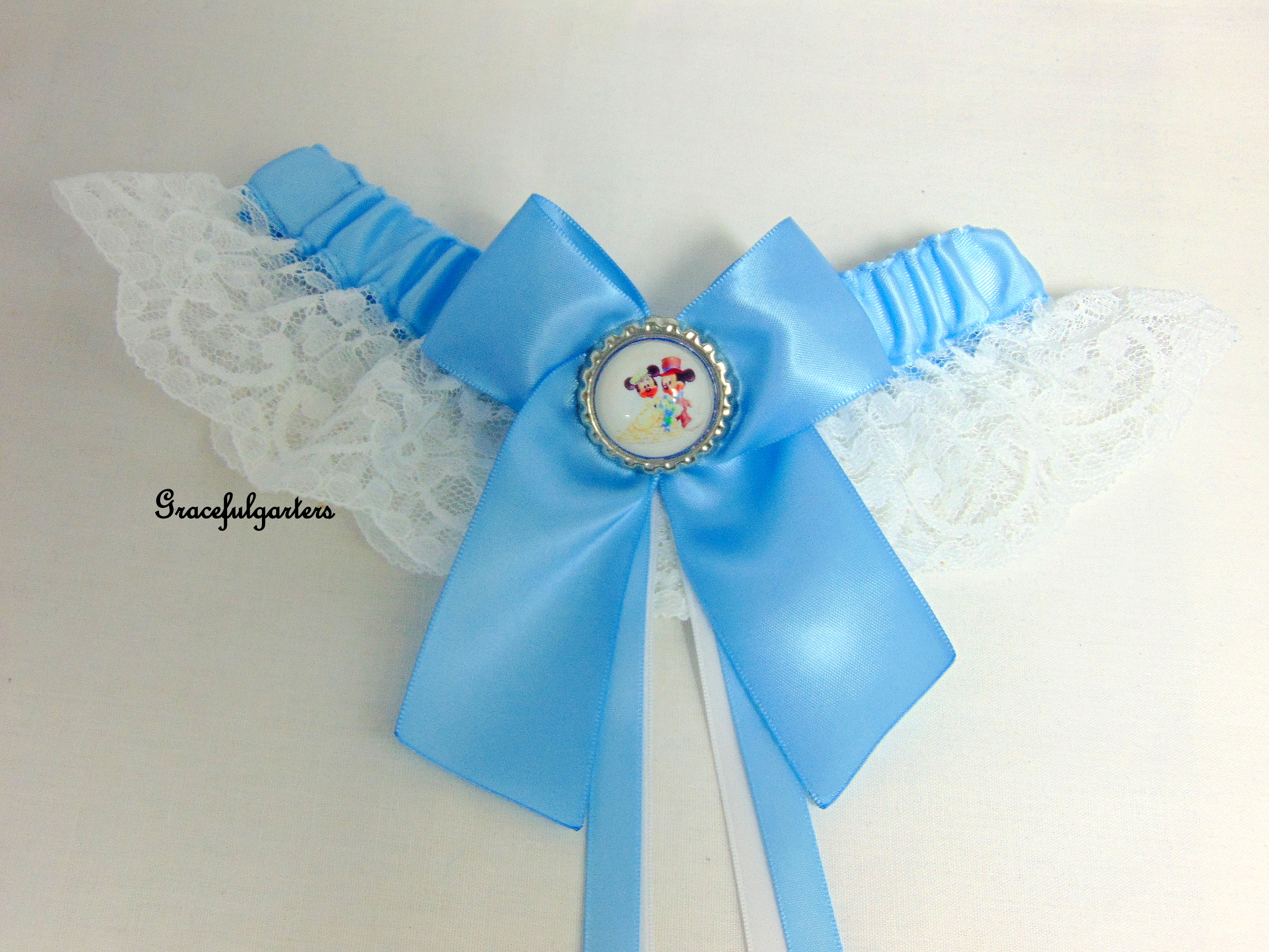Mickey & minnie mouse Disney bridal wedding garter