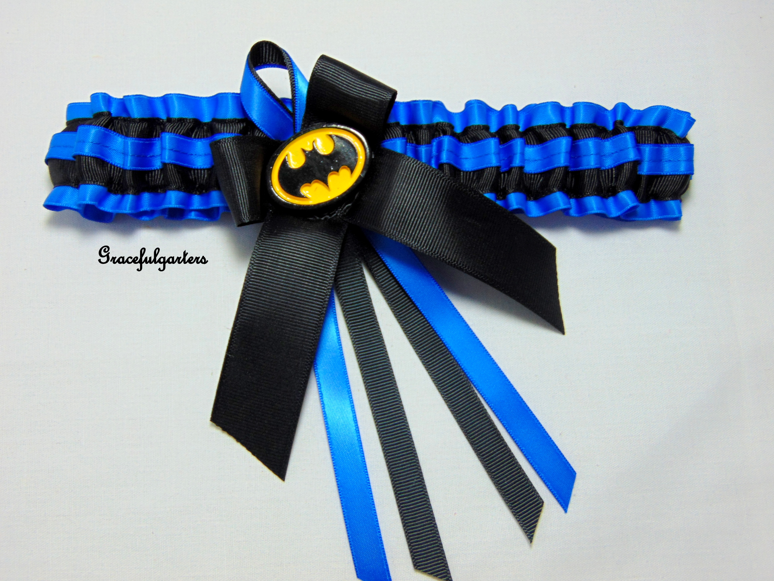 black and blue lace batman bridal wedding garter