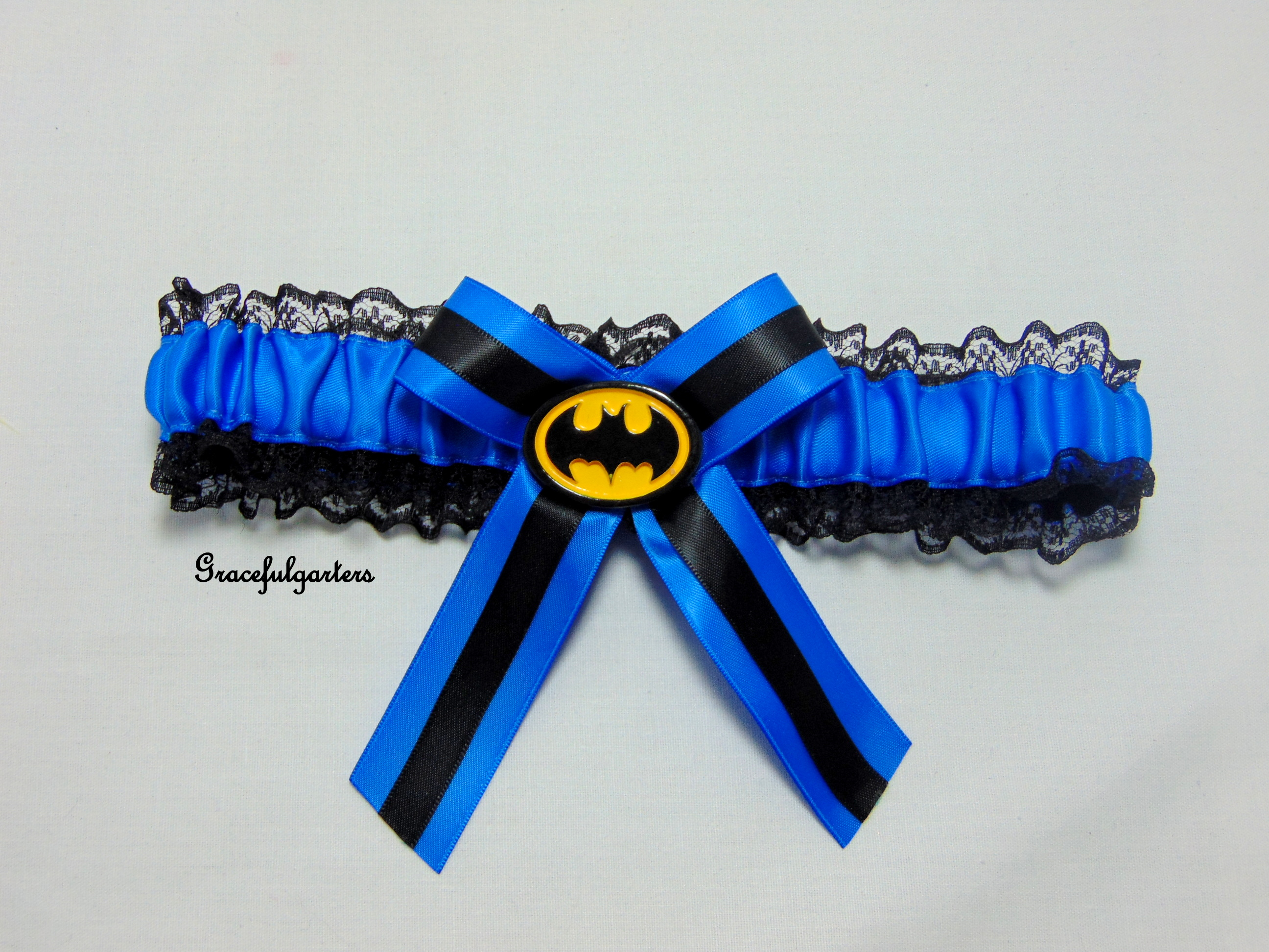 blue Batman lace bridal wedding Garter