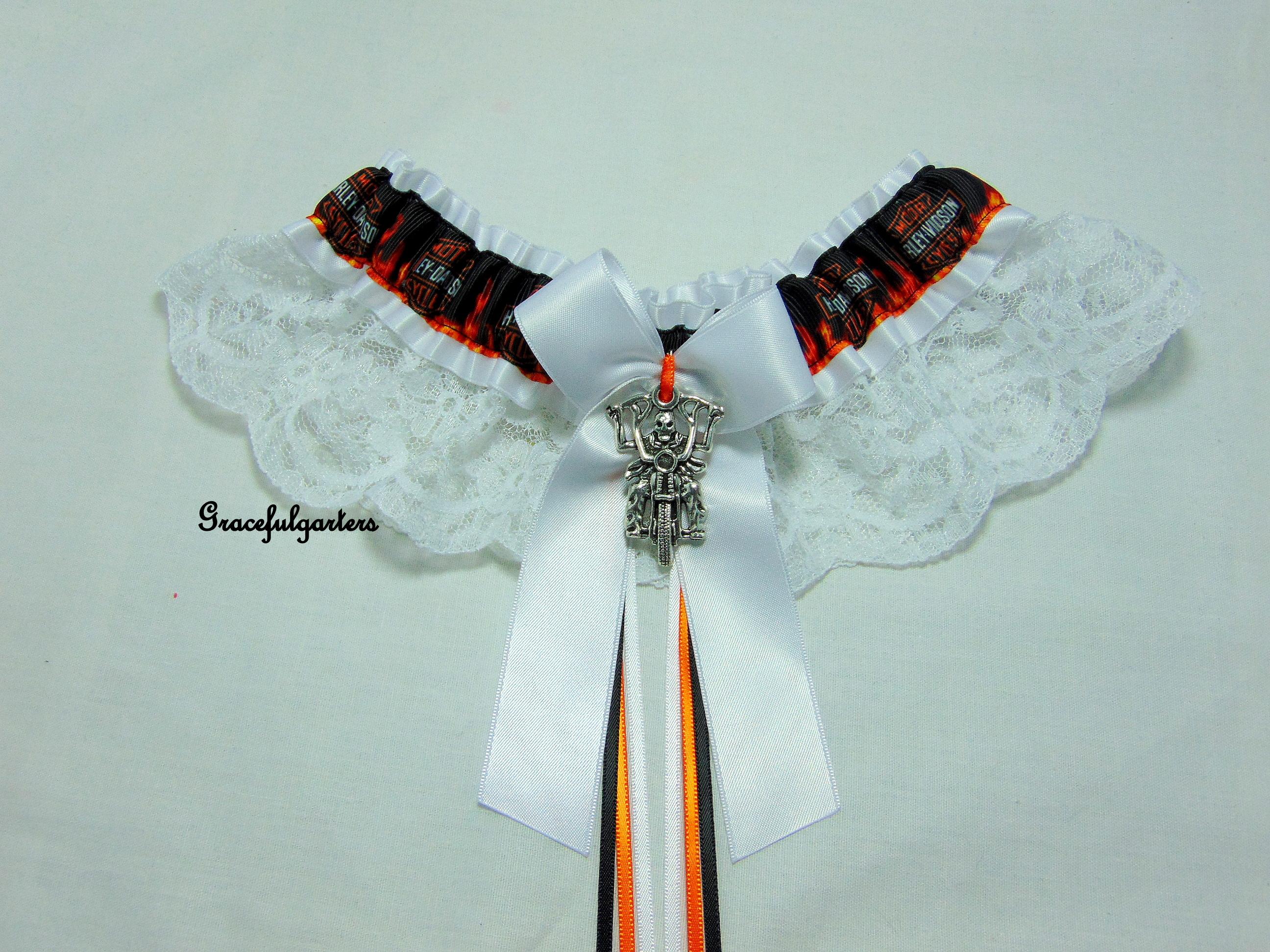 motorcycle Biker lace Bridal wedding garter