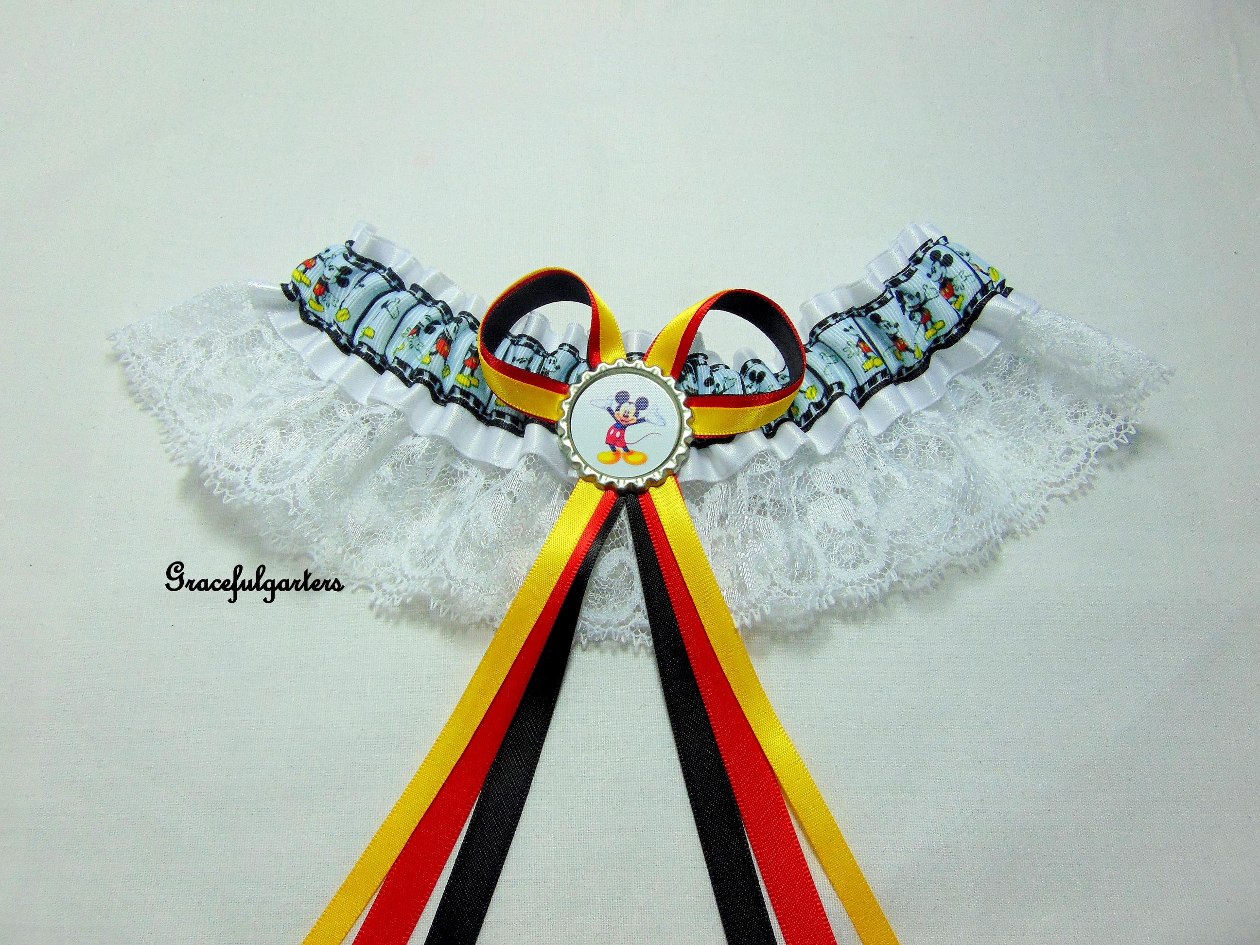 Mickey mouse lace disney bridal wedding garter