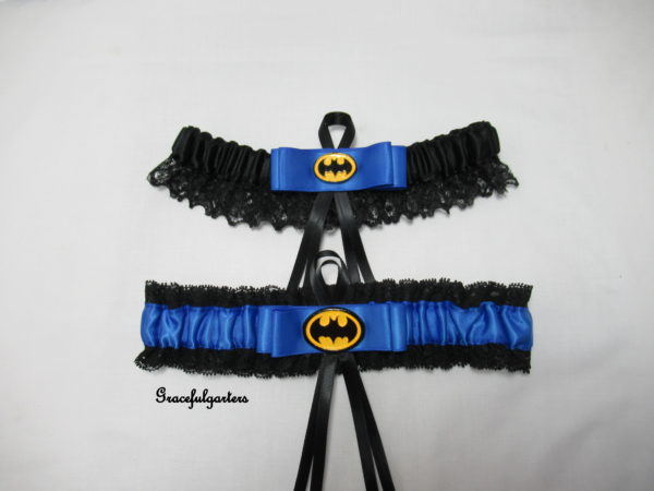 blue Batman lace Bridal wedding Garter set