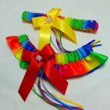 Gay pride bridal wedding garter set
