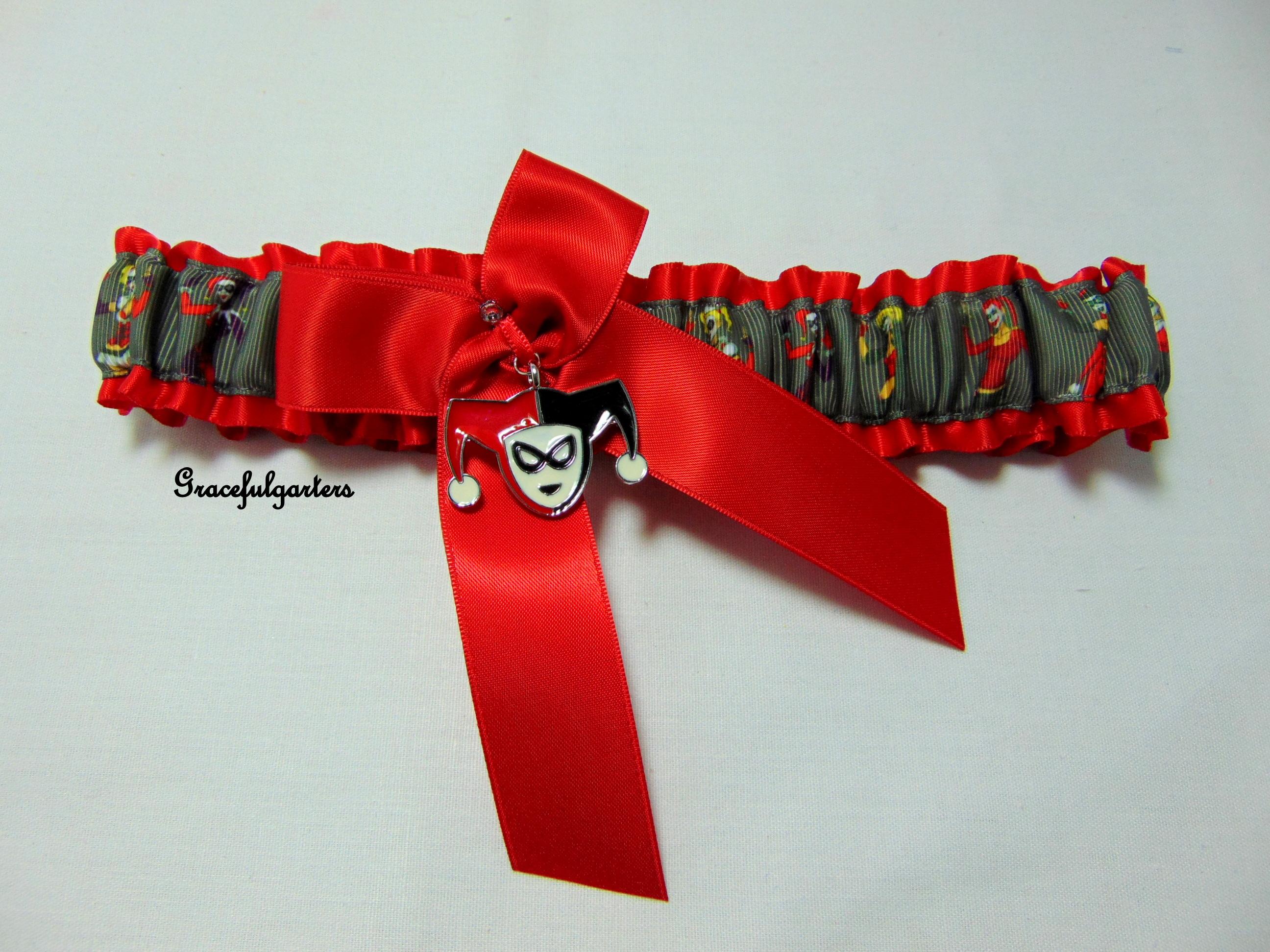 Harley quinn suicide squad bridal wedding garter