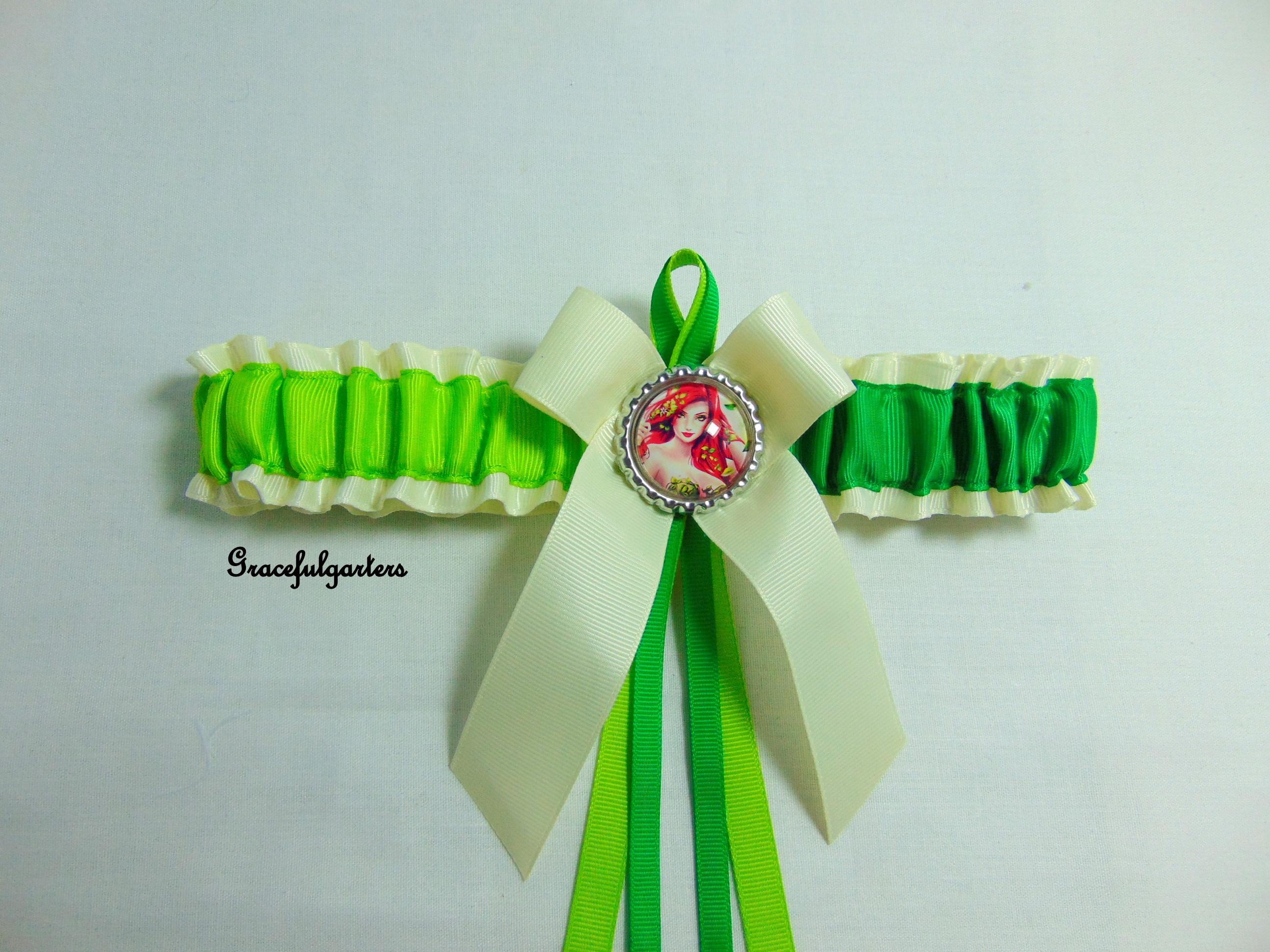 Poison Ivy Super Villain Bridal Wedding Garter