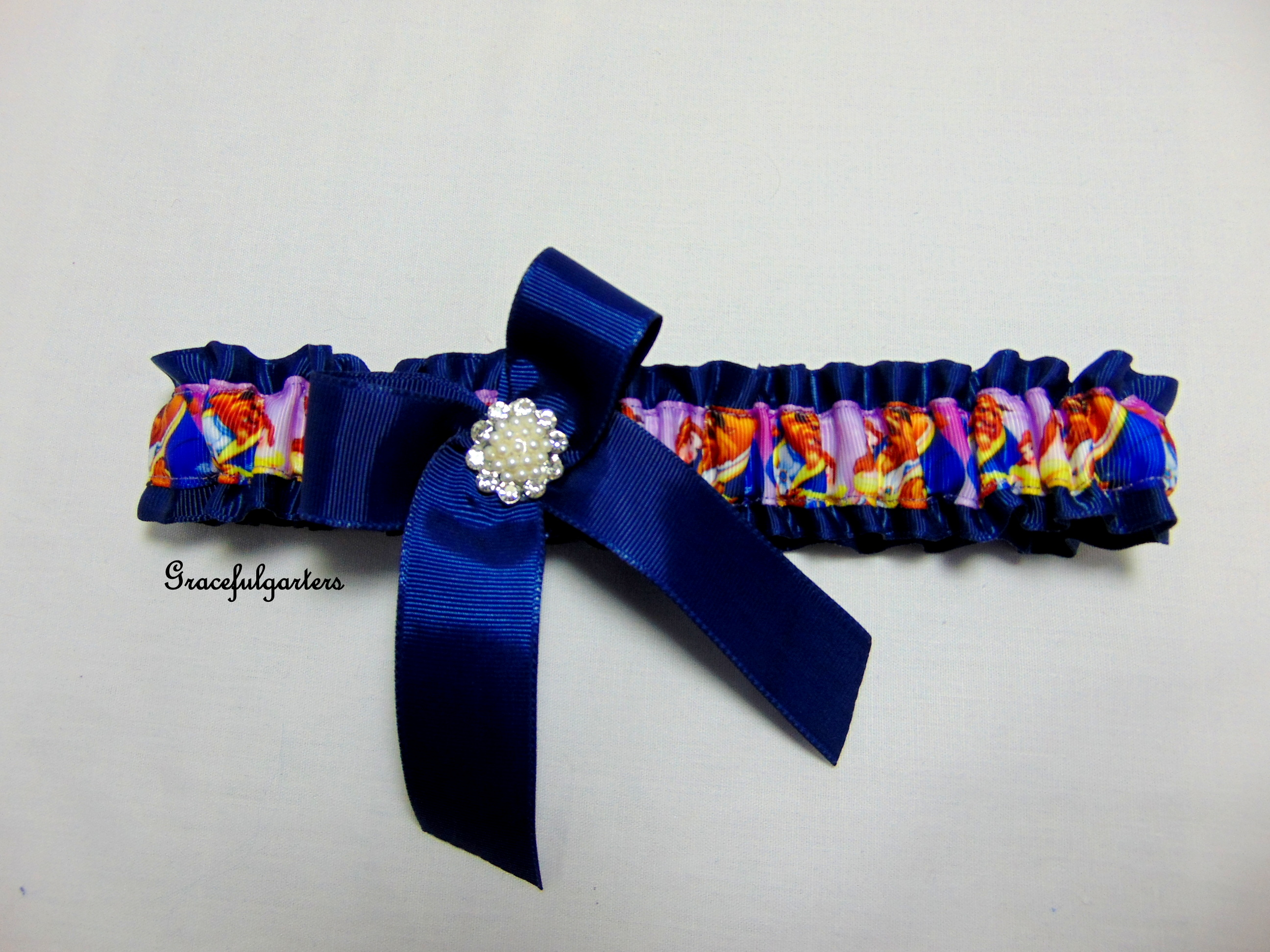 Beauty and the beast disney bridal wedding garter