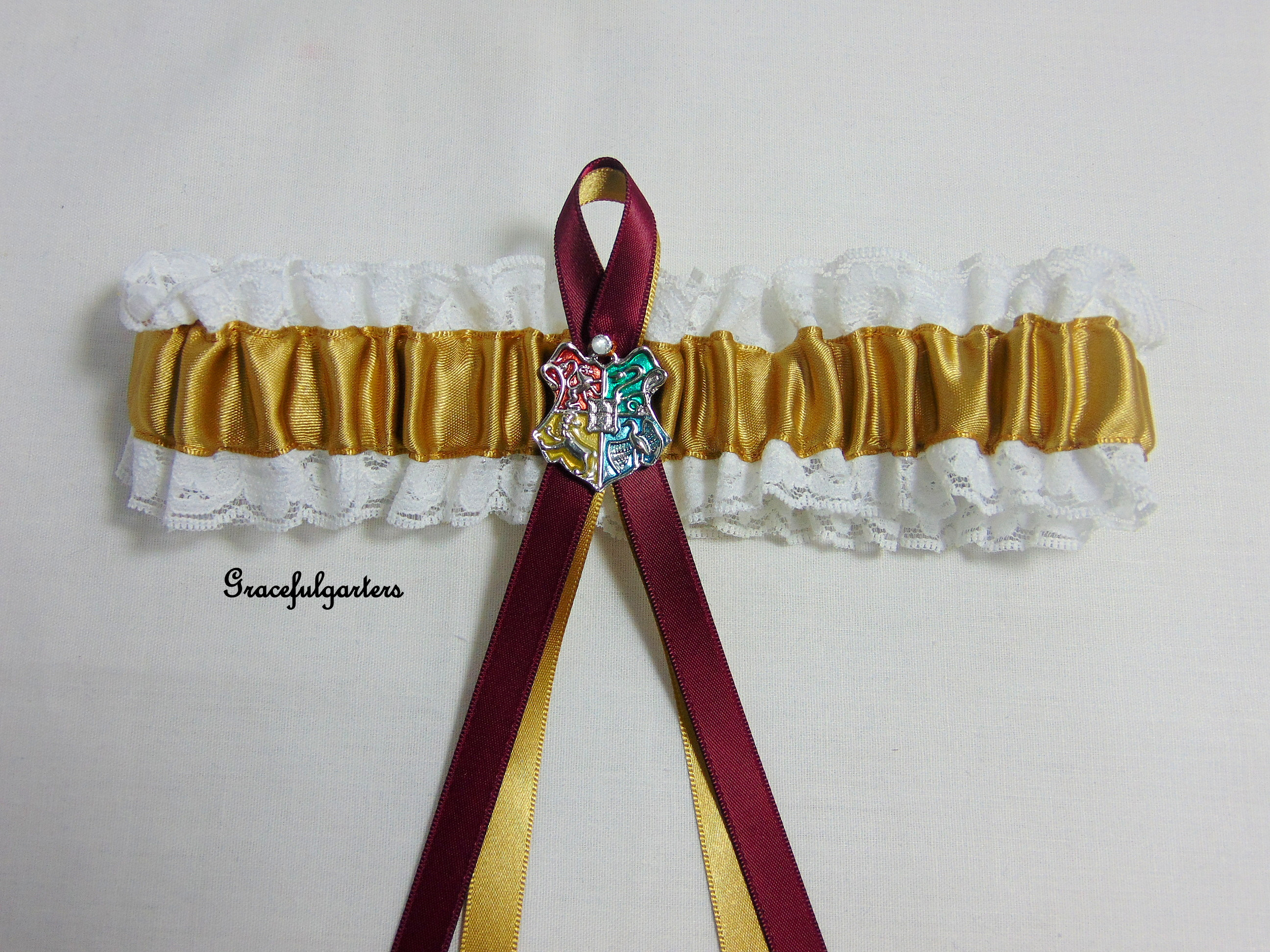 Harry Potter Golden Hogwarts Lace Bridal Wedding Garter