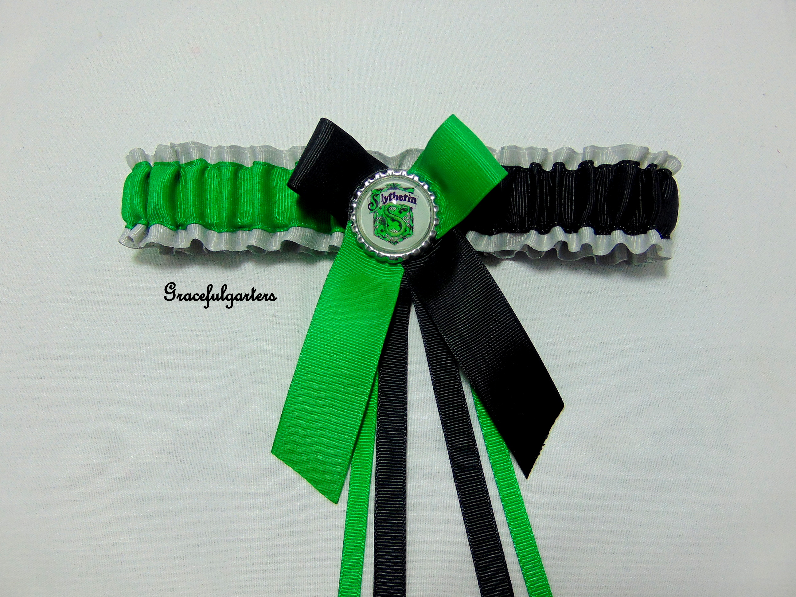 Slytherin harry potter bridal wedding garter