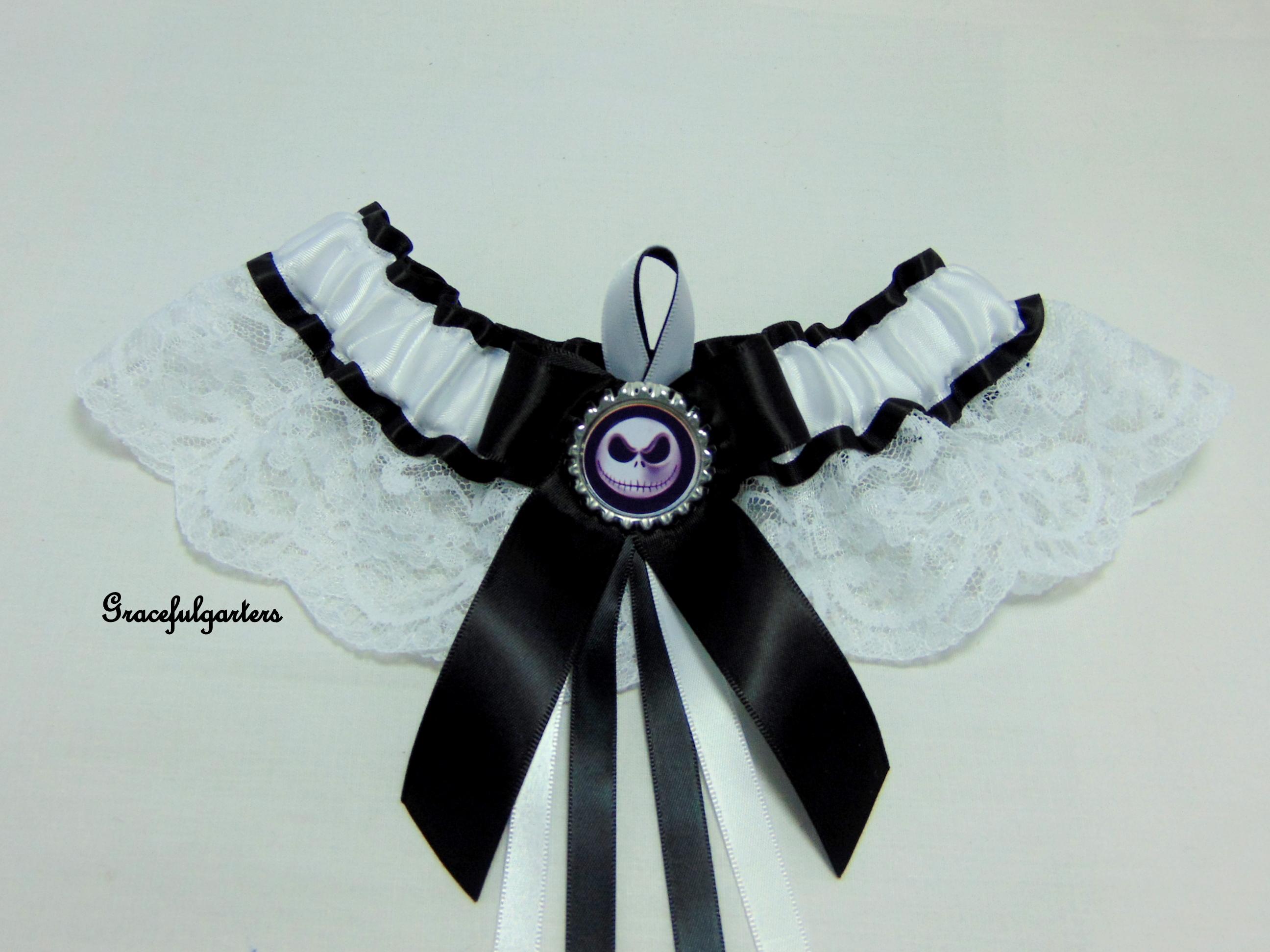 Jack Skellington Nightmare Before Christmas Lace Bridal Wedding Garter