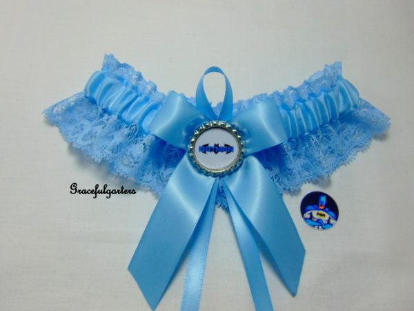Batman Something Blue Lace Bridal Wedding Garter