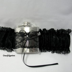 black lace Hip Flask Bridal Wedding Garter