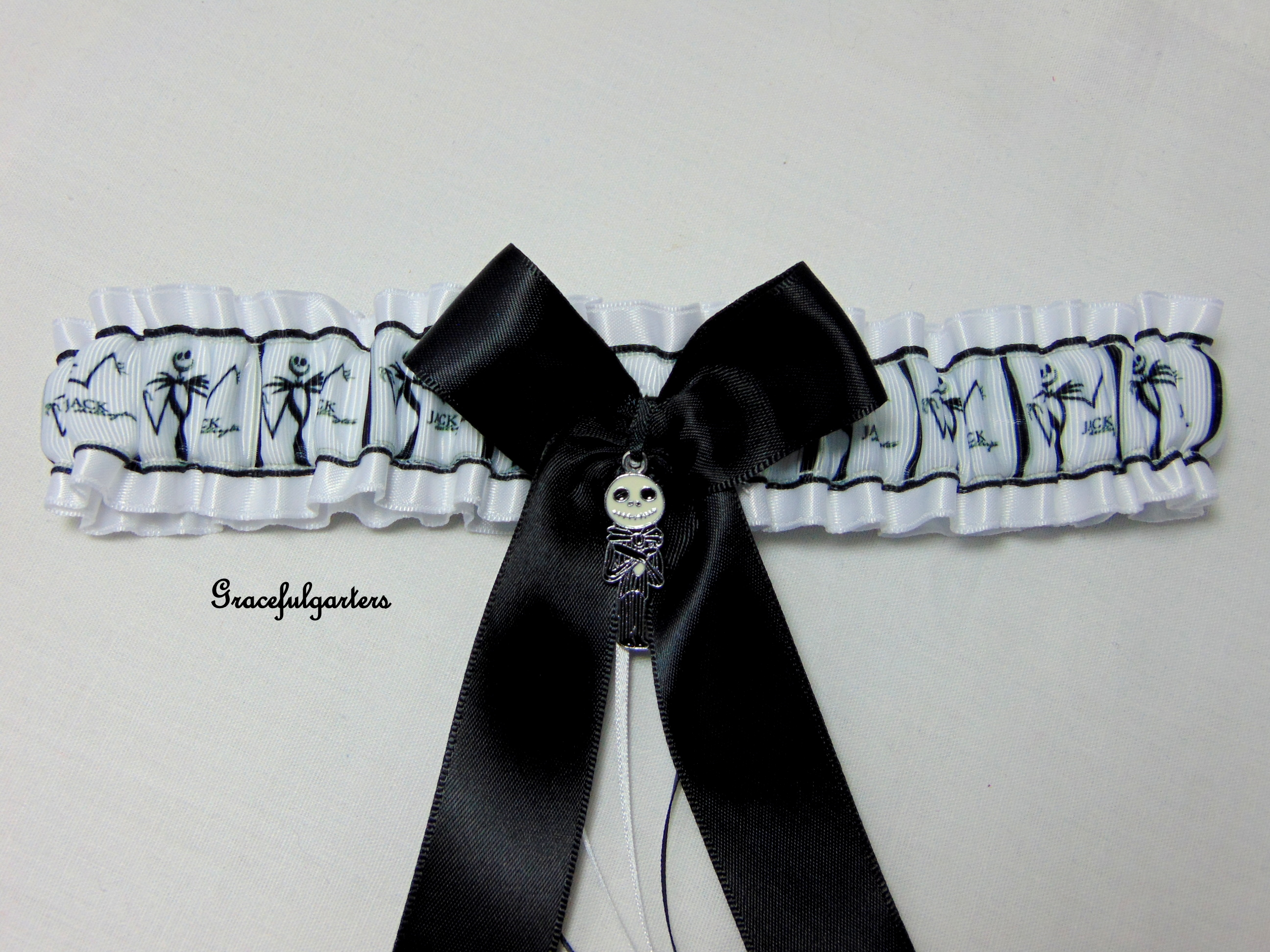 jack nightmare before christmas bridal wedding garter