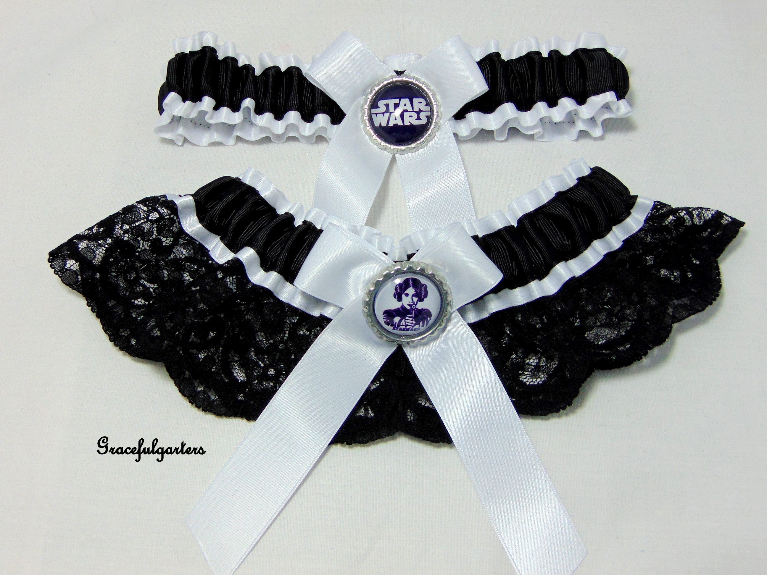 Starwars Princess Leia Bridal wedding Garter Set