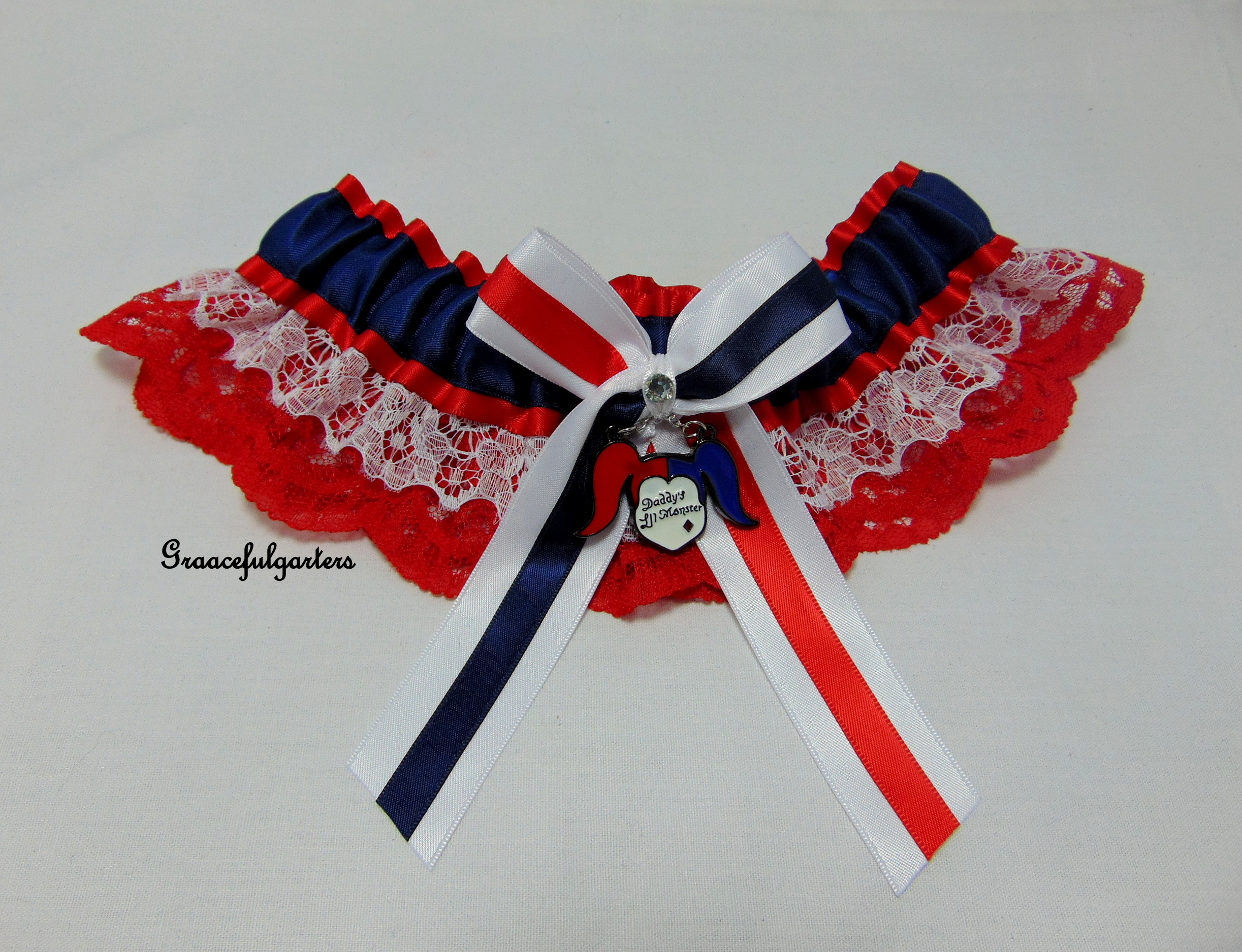 Daddys Lil Monster Harley Quinn Lace Bridal Wedding Garter.
