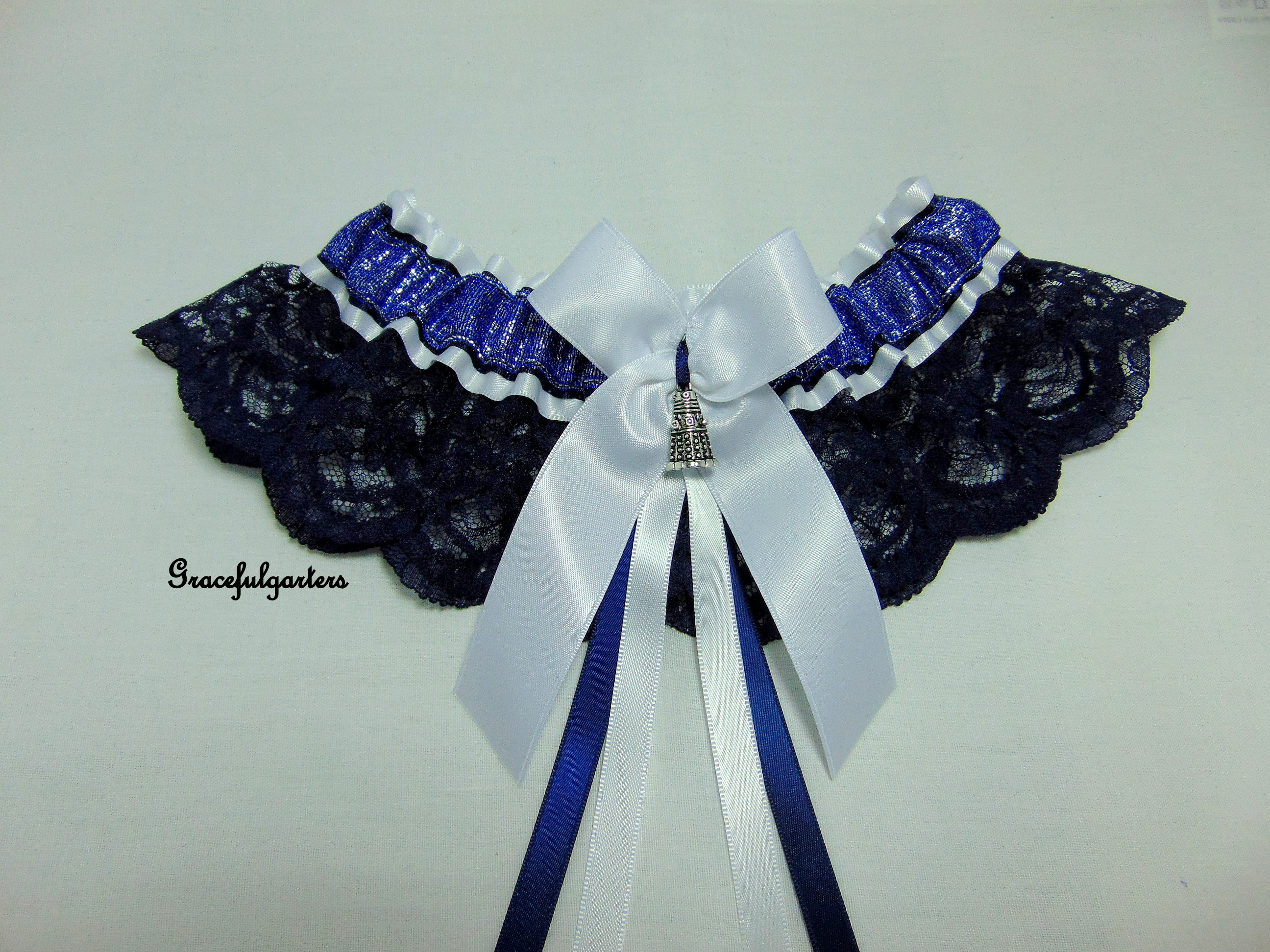 Doctor Who Dalek Lace Navy Blue & White Bridal Wedding Garter