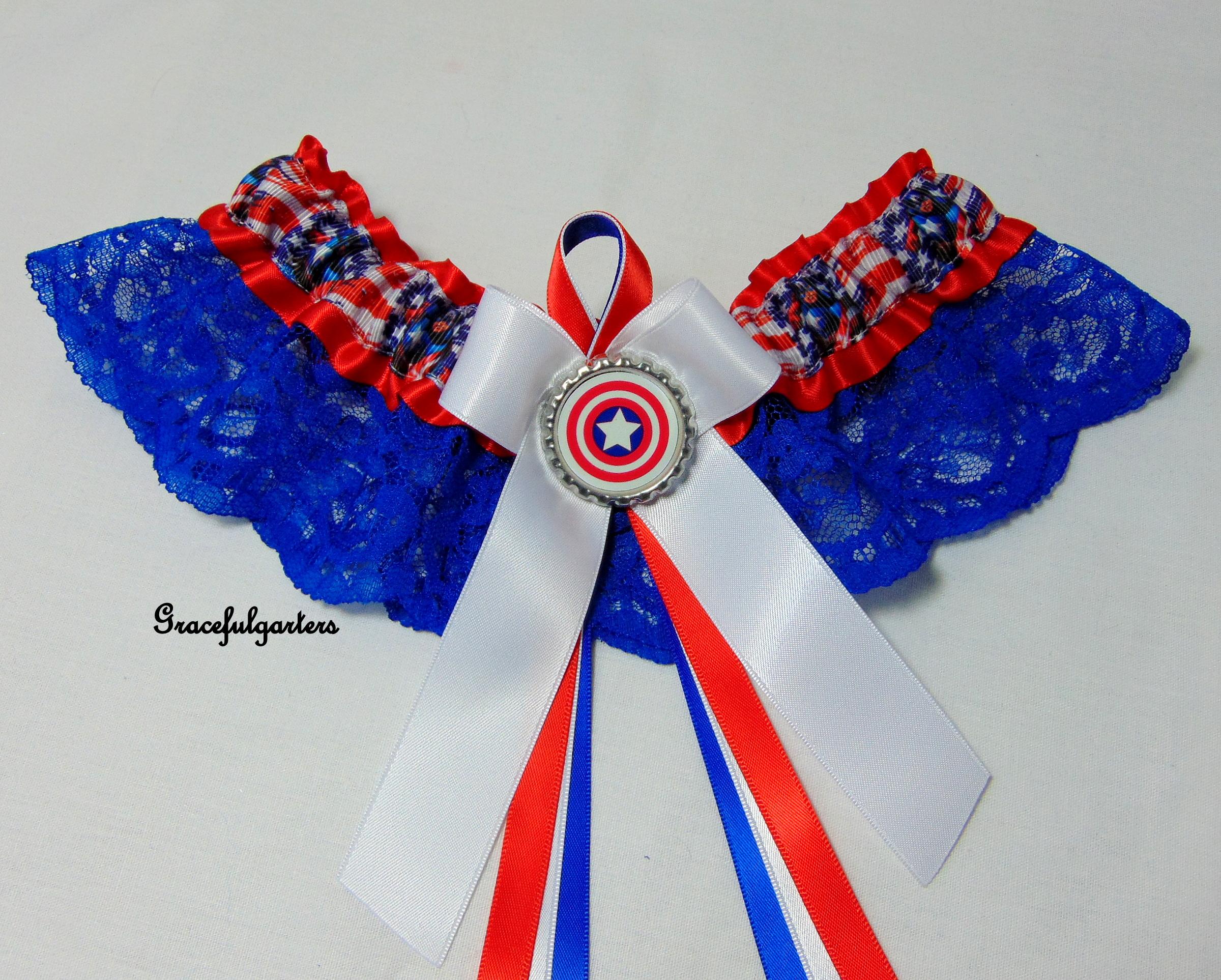 Captain America Avengers Lace Bridal Wedding Garter