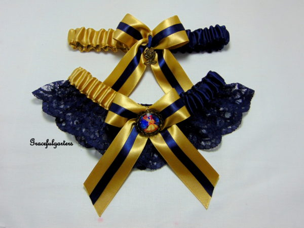 Golden Beauty and the Beast Disney Bridal Wedding Garter Set
