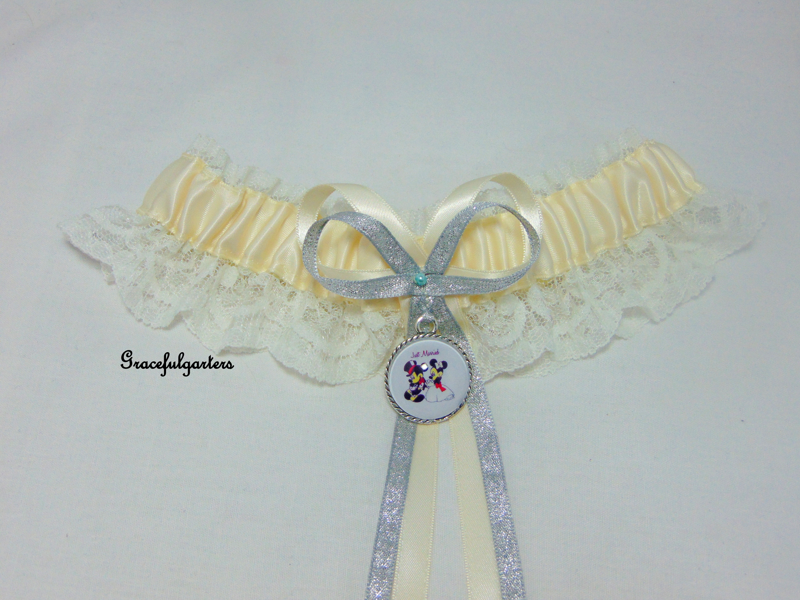Ivory Mickey & Minnie Mouse Lace Disney Bridal Themed Wedding Garter