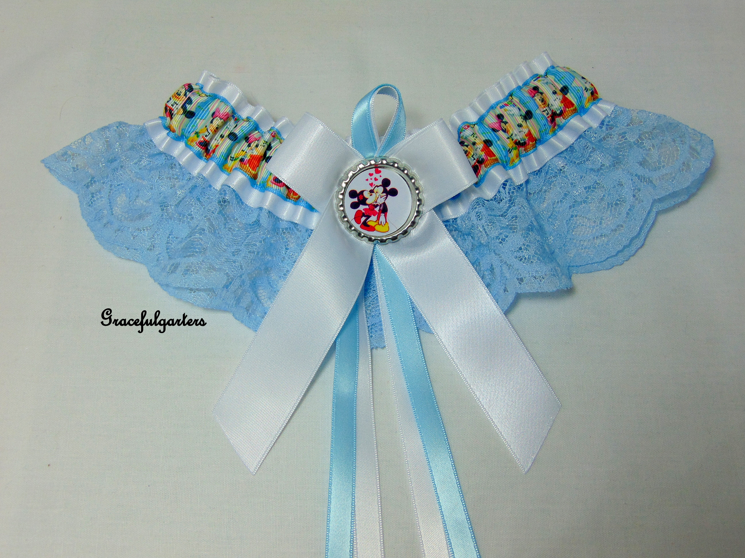 Mickey & Minnie Mouse Disney Lace Bridal Wedding Garter