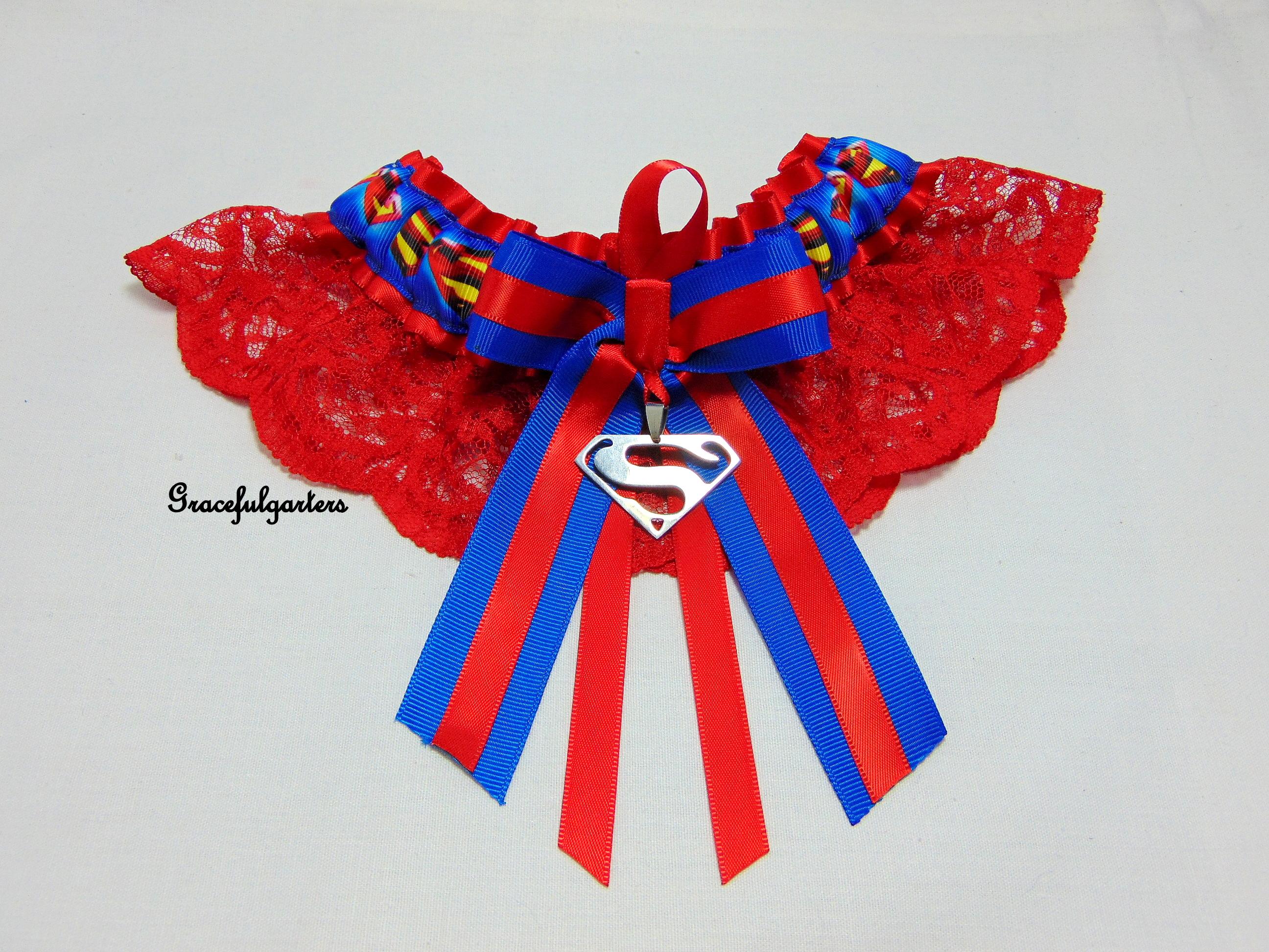 Superman Lace Bridal Wedding Garter