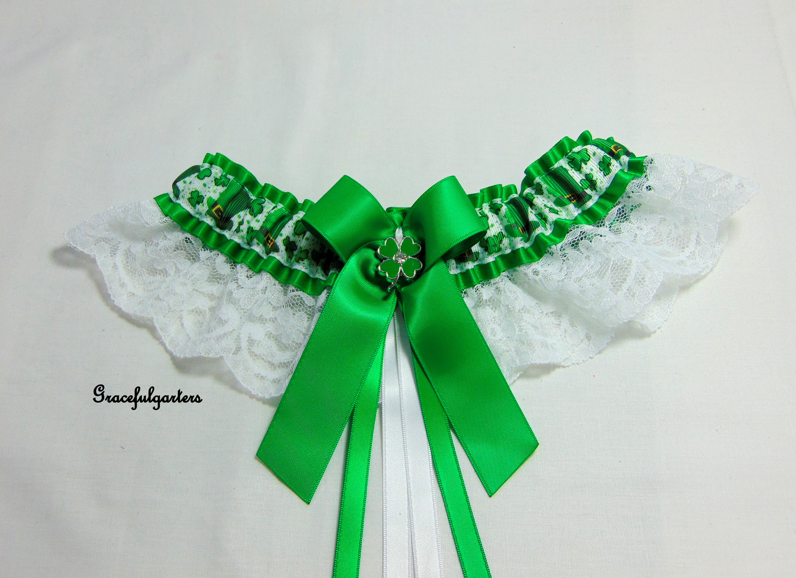 St Patricks Day Irish Clover Leaf Lace Bridal Wedding Garter