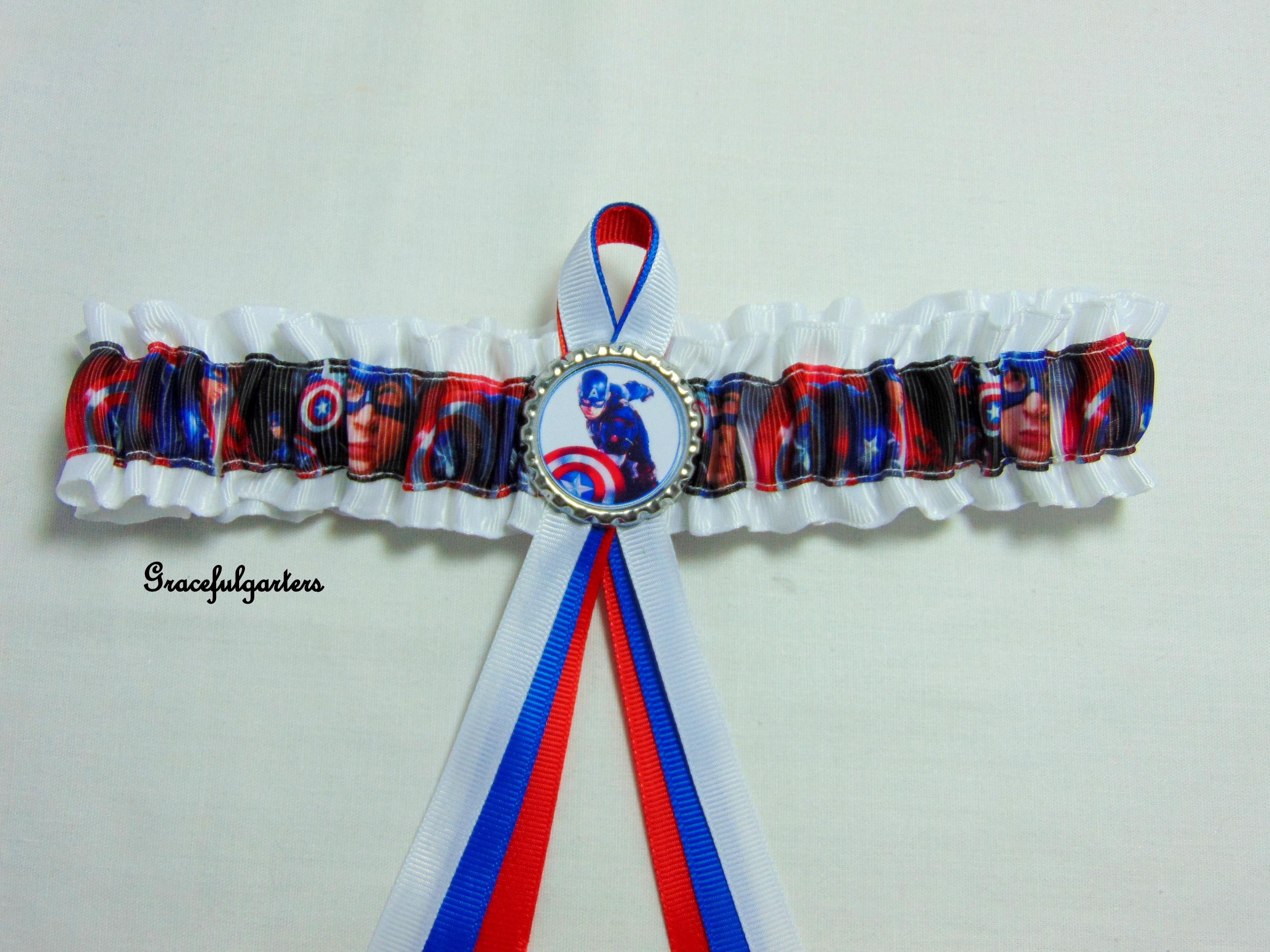 Captain America Superhero Bridal Wedding Garter