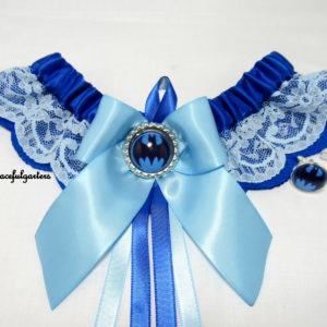 Batman Blue Lace Bridal Wedding Garter & matching Groom Cuff-Links