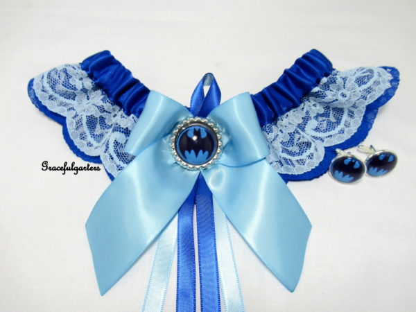 Batman Blue Lace Bridal Wedding Garter & matching Groom Cuff-Links