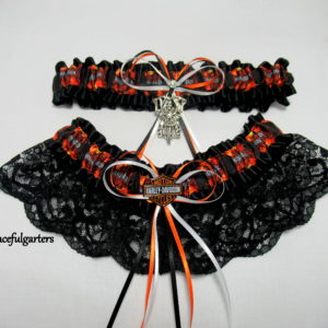 Harley Davidson Lace Biker Bridal Wedding Garter Set